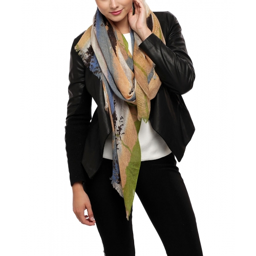 Wholesale U32A Wool blend vertical brush strokes scarf BD