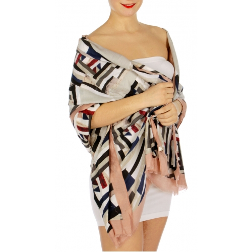 Wholesale I16B Geometric print border oblong scarf MS