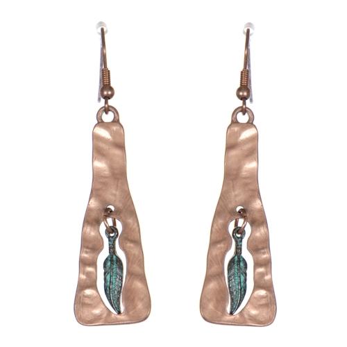 Wholesale WA00 Metallic feather dangling earrings OG