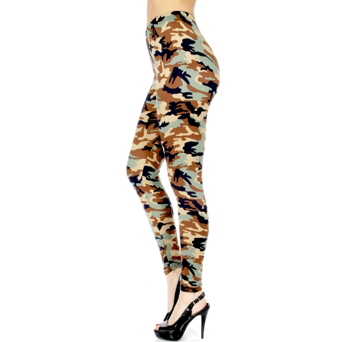 wholesale C48B Smooth camouflage print leggings Light brown