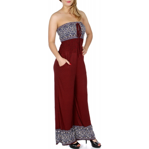 wholesale Q20-1 Tube top smocked print jumpsuit A