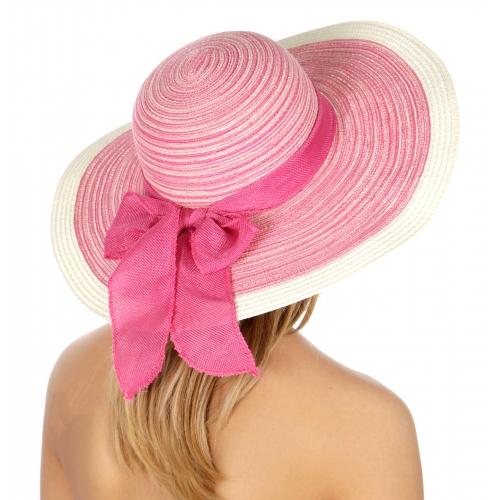 wholesale V08C Striped floppy paper hat bow ribbon