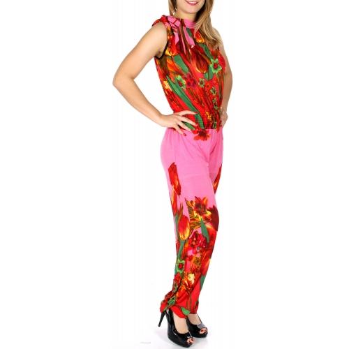 wholesale Q25-1 Sleeveless R neck floral print jumpsuit PK