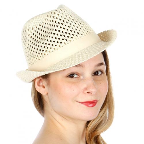 Wholesale W09 Solid mesh fedora hat BUR