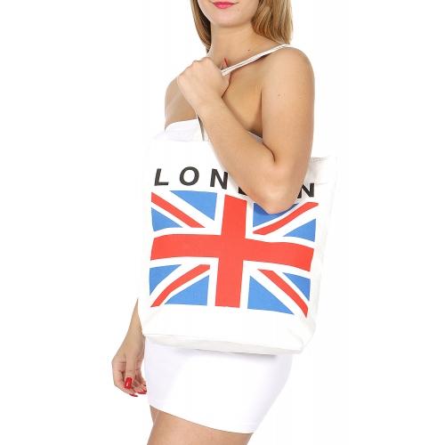Wholesale P01B Union Jack print tote bag