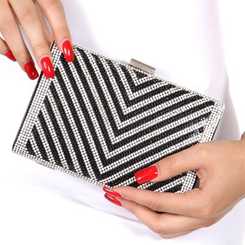 Wholesale N15D Hard case rhinestone evening bag PU Black