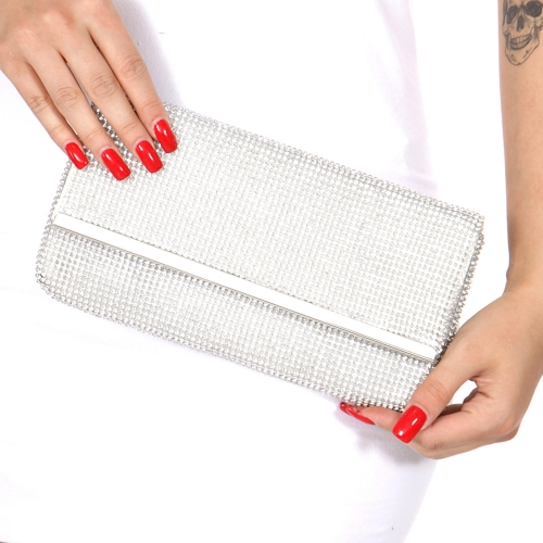 Wholesale N16C Rhinestone evening bag Silver