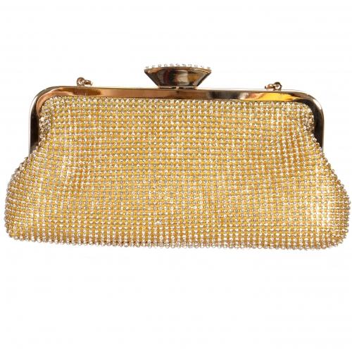 Wholesale N17B Shining rhinestones knuckles evening bag Gold
