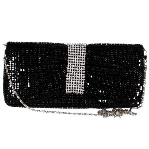 Wholesale N00C Metal mesh & shining rhinestones evening bag BK