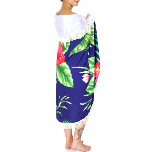 Wholesale N08E Tropical flowers print beach round wrap w/bag