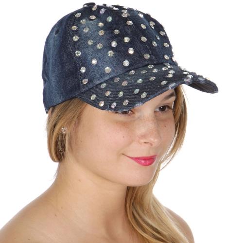 Wholesale W54A Baseball cap hat W/AB Stones denim