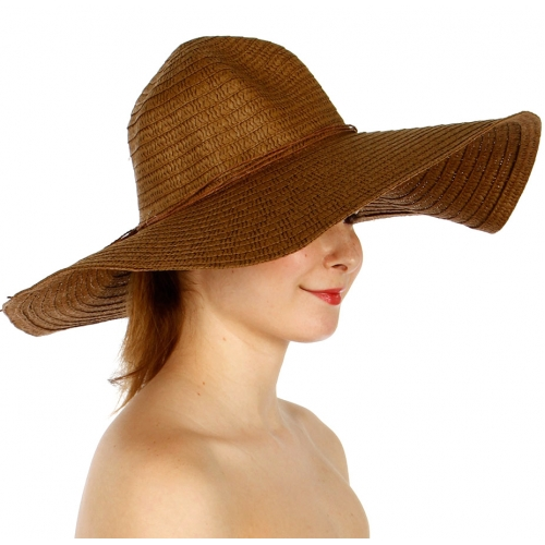 Wholesale V04A Wide Floppy Hat Beige