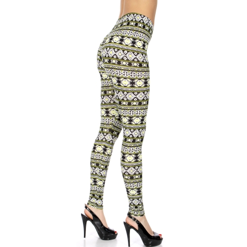 Wholesale F01A Abstract aztec black and neon green pattern print peach-skin print leggings