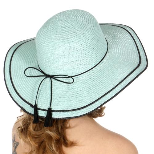Wholesale V67D Faux leather bow band floppy sun hat