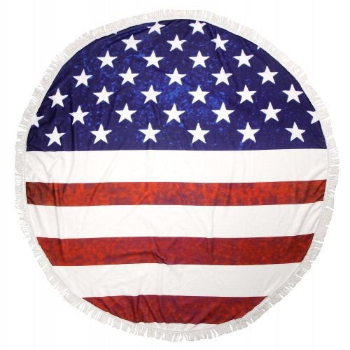 Wholesale WA00 American flag round beach shawl / blanket Navy