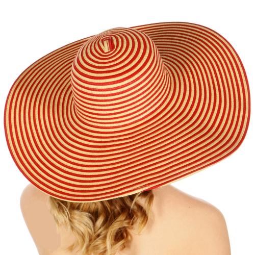 Wholesale V81 Wide brim striped floppy hat Black
