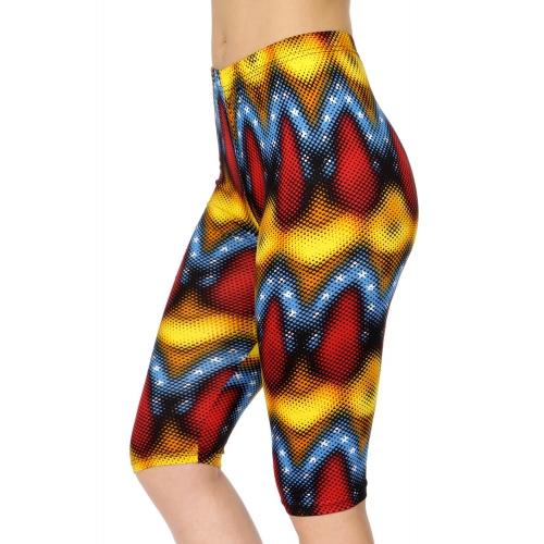 Wholesale C08A Abstract wave softbrush capri leggings