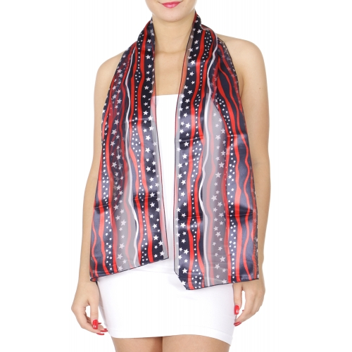 Wholesale O30A God Bless America print oblong striped satin scarf NV