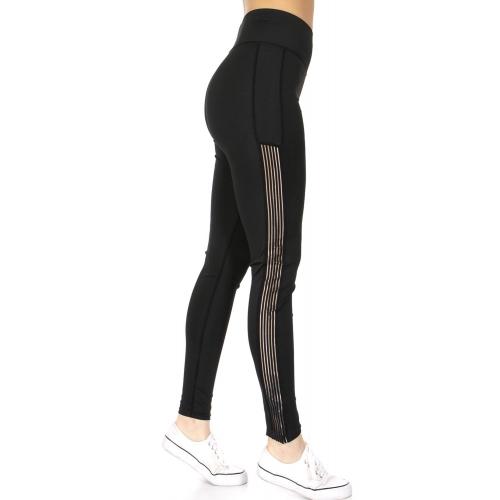 Wholesale A34A Pin stripes side active leggings Black