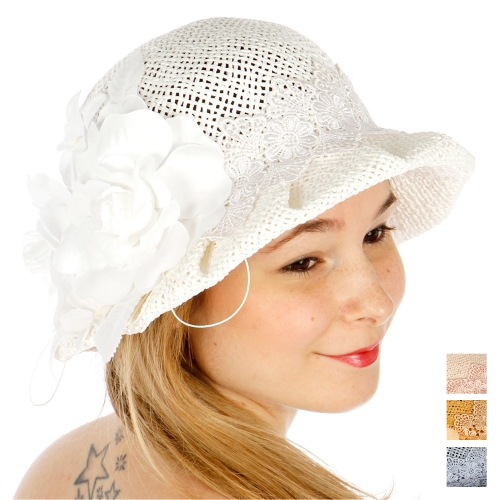 Wholesale V61 Flower and lace band summer hat NATURAL