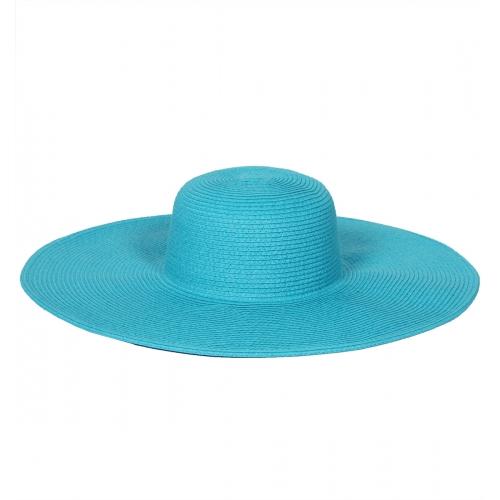 Wholesale W35 Solid wide brim paper braid floppy hat Beige