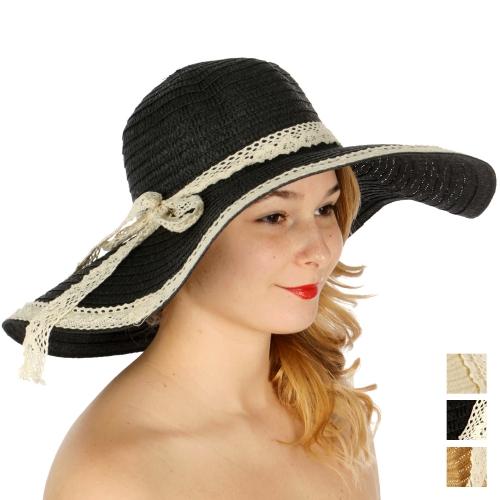 Wholesale V50D Lace trimmed floppy sun hat w/ lace band Beige