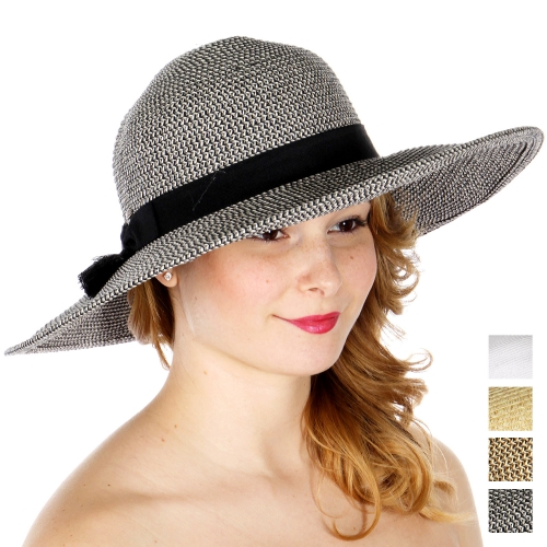 Wholesale W66-1 Tassels & bow band sun hat (size adjustable) BLK