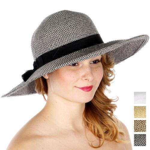 Wholesale W66-1 Tassels & bow band sun hat (size adjustable) BLK
