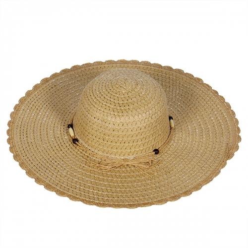 Wholesale V52B Fancy floppy straw sun hat w/ beaded band Black