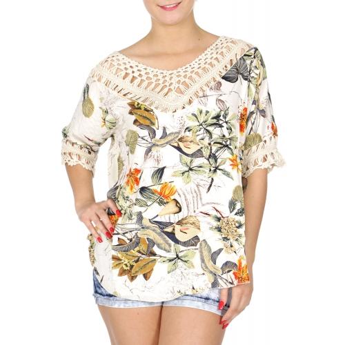Wholesale N02A Crochet neck trim garden short sleeve top
