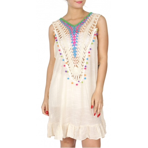 Wholesale H19E Flare bottom gauze dress w/ colorful crochet & pom pom