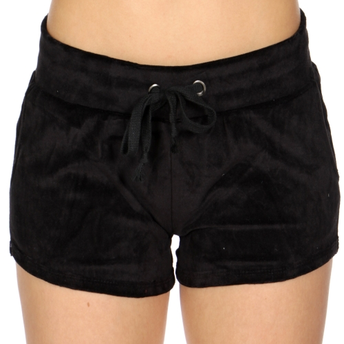 Wholesale S08A Drawstring solid velour shorts Black