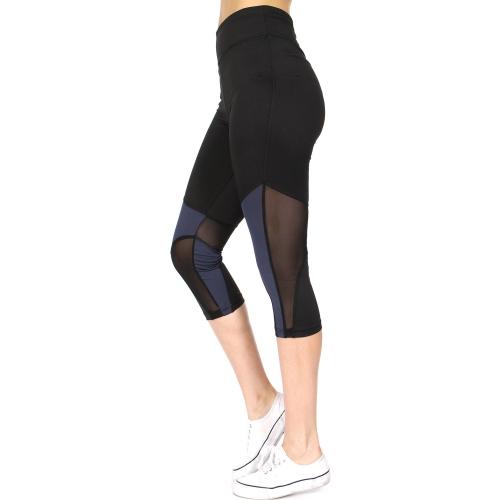 Wholesale E15E Mesh panel capri active leggings Grey