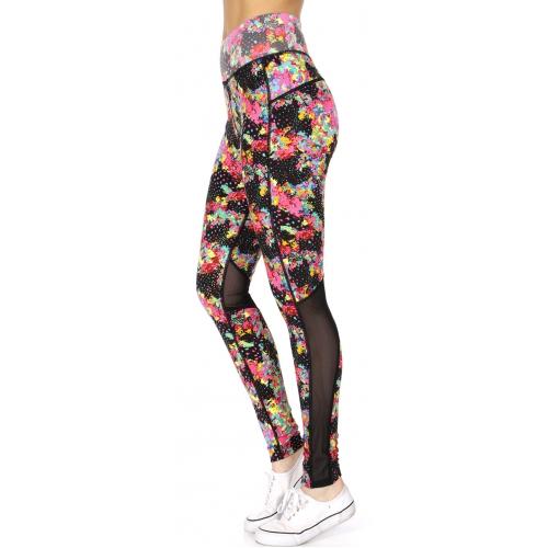 Wholesale F21D Colorful petals print curvy mesh lining active leggings PINK