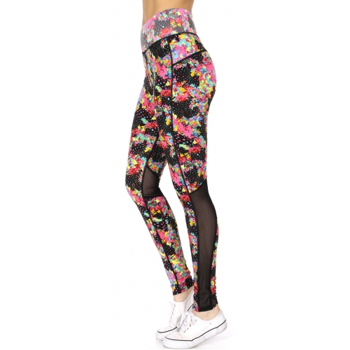 Wholesale F21D Colorful petals print curvy mesh lining active leggings PINK