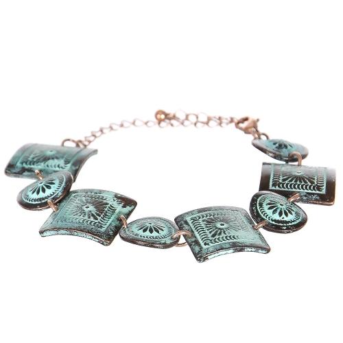 Wholesale L08E Flower carved circles & squares metal bracelet OG