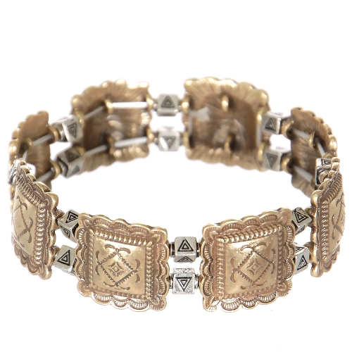 Wholesale L23C Diamonds & triangles metal stretch bracelet RGB