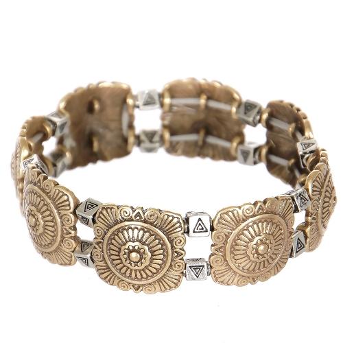 Wholesale L23B Flower & triangles metal stretch bracelet GB