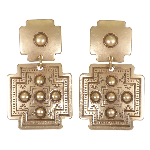 Wholesale L07C Tribal circles cross earrings GB
