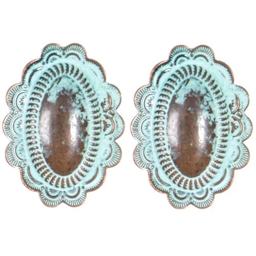 Wholesale L01D Oval flower clip earrings OG