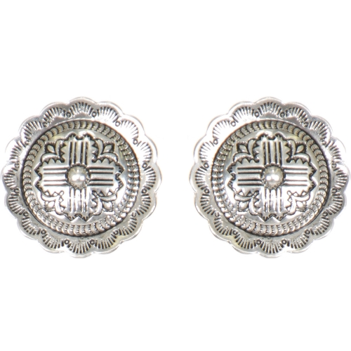Wholesale L01D Flower carved circular clip earrings SV