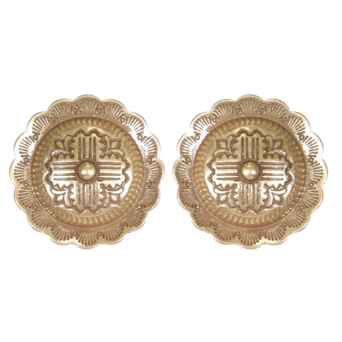Wholesale L01D Flower carved circular clip earrings GB