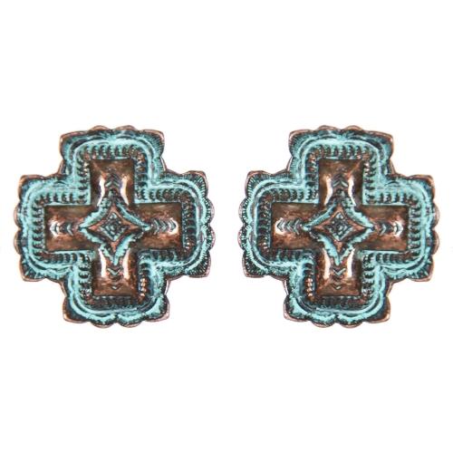 Wholesale L01D Diamond carved cross clip earrings OG