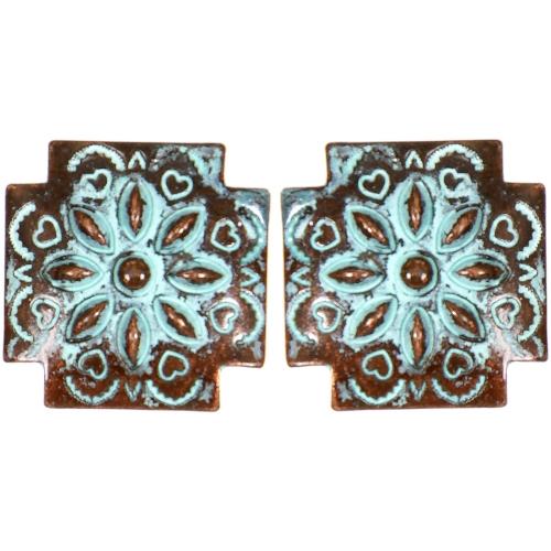 Wholesale L05C Hearts & flower carved cross clip earrings OG