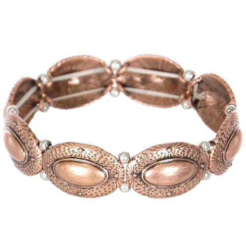 Wholesale L23E Carved oval metal stretch bracelet CB
