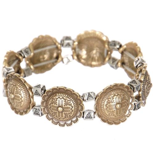 Wholesale L27D Carved flower & triangle metal stretch bracelet RGB