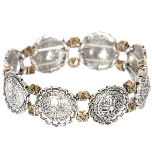 Wholesale L27D Carved flower & triangle metal stretch bracelet SV