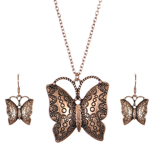 Wholesale M03A Carved butterfly pendant necklace set CB