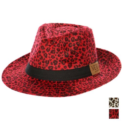 Wholesale W53D Leopard Print Fedora Hat BUR