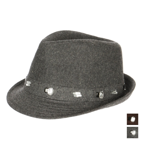 wholesale V76 Jeweled trim fedora hat Chocolate Brown
